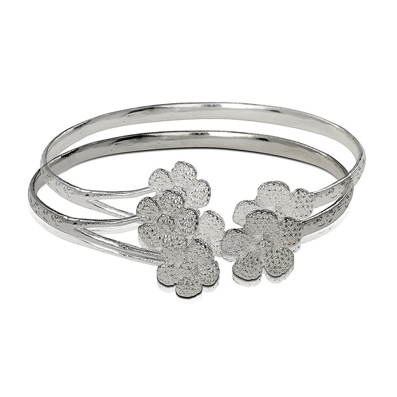 .925 Sterling Silver Flower Ends Flat West Indian Bangles (pair) - Betterjewelry