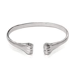 .925 Sterling Silver Flat Fists ends bangle - Betterjewelry