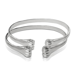 .925 Sterling Silver Flat Fists ends bangles (pair) - Betterjewelry
