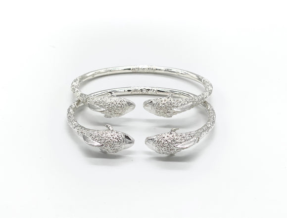 Dolphin .925 Sterling Silver West Indian Bangles (Pair)