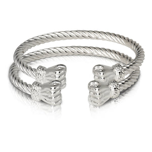 Fist ends coiled rope West Indian bangles .925 Sterling silver MADE IN USA (pair)