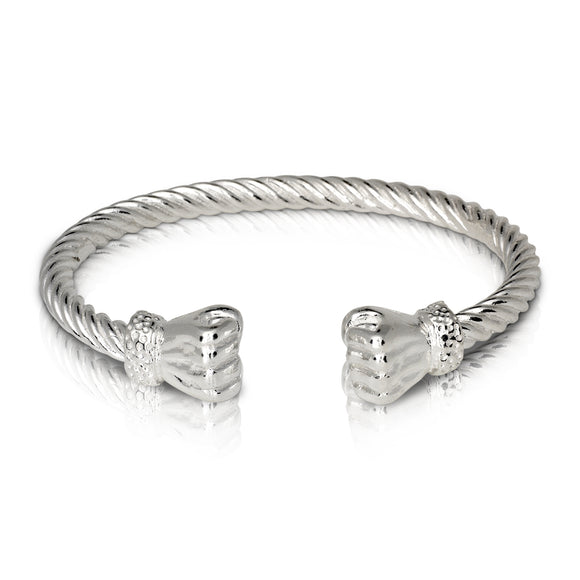 Fist Ends Coiled Rope West Indian Bangle .925 Sterling Silver
