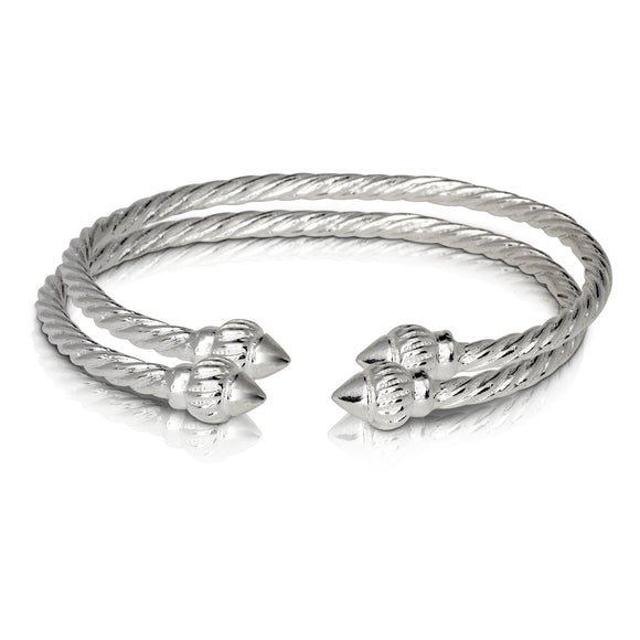 RIDGED ARROW COILED ROPE WEST INDIAN BANGLES .925 STERLING SILVER (MADE IN USA) (PAIR) - Betterjewelry