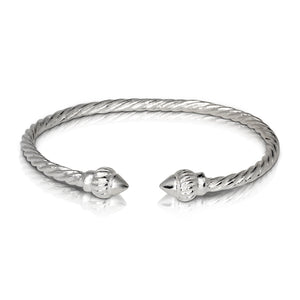RIDGED ARROW COILED ROPE WEST INDIAN BANGLE .925 STERLING SILVER (MADE IN USA) - Betterjewelry