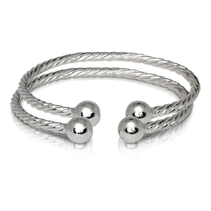 BALL ENDS COILED ROPE WEST INDIAN BANGLES .925 STERLING SILVER (MADE IN USA) (PAIR) - Betterjewelry