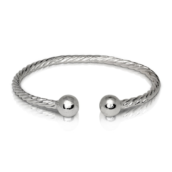 BALL ENDS COILED ROPE WEST INDIAN BANGLE .925 STERLING SILVER (MADE IN USA) - Betterjewelry