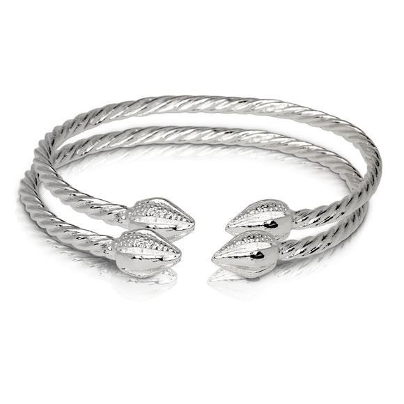 COCOA POD ENDS COILED ROPE WEST INDIAN BANGLES .925 STERLING SILVER (MADE IN USA) (PAIR) - Betterjewelry