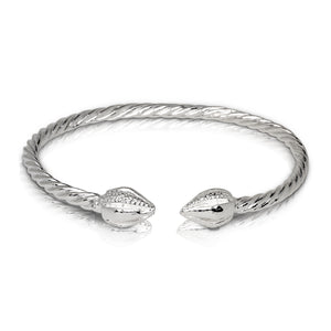 COCOA POD ENDS COILED ROPE WEST INDIAN BANGLE .925 STERLING SILVER (MADE IN USA) - Betterjewelry