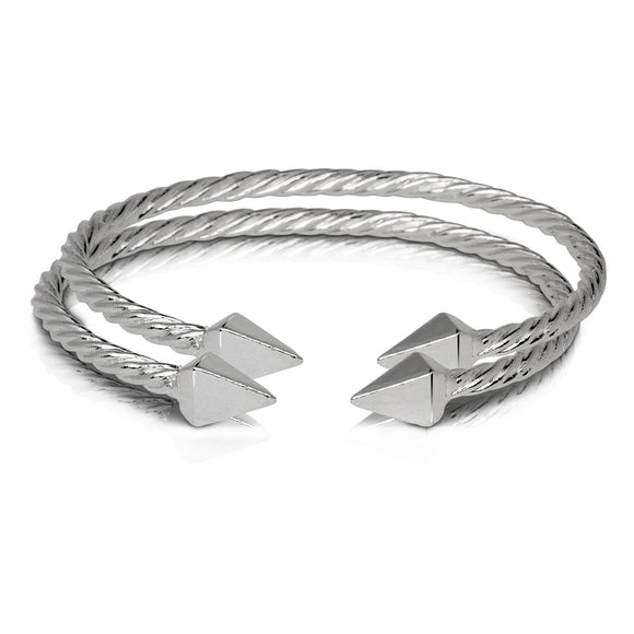 PYRAMID ENDS COILED ROPE WEST INDIAN BANGLES .925 STERLING SILVER (pair) (MADE IN USA)