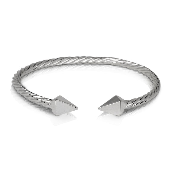 PYRAMID ENDS COILED ROPE WEST INDIAN BANGLE .925 STERLING SILVER (MADE IN USA)