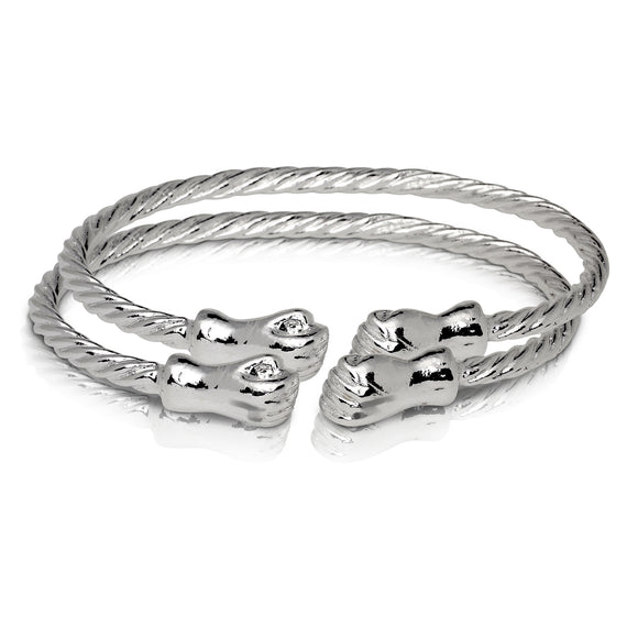 FIST ENDS COILED ROPE WEST INDIAN BANGLES .925 STERLING SILVER (pair) (MADE IN USA)