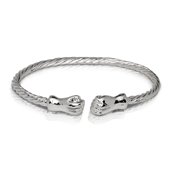 FIST ENDS COILED ROPE WEST INDIAN BANGLE .925 STERLING SILVER (MADE IN USA)