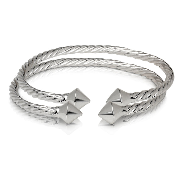 THICK PYRAMID COILED ROPE WEST INDIAN BANGLES .925 STERLING SILVER BANGLES (MADE IN USA) (PAIR)
