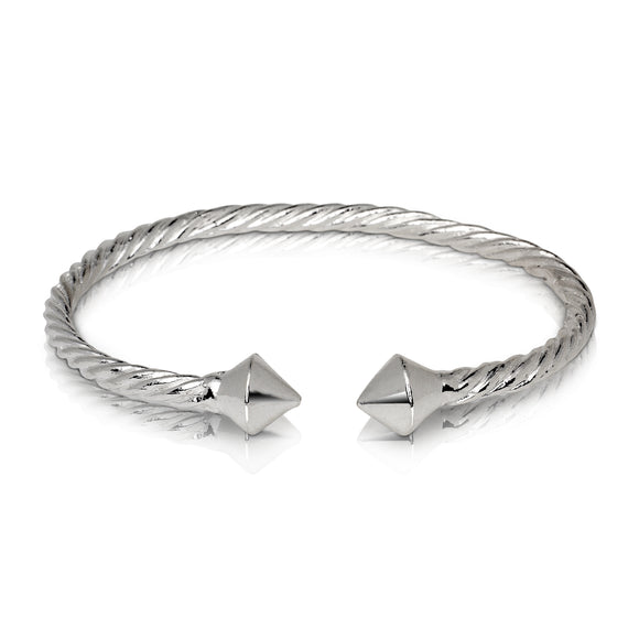THICK PYRAMID COILED ROPE WEST INDIAN BANGLE .925 STERLING SILVER BANGLES (MADE IN USA)
