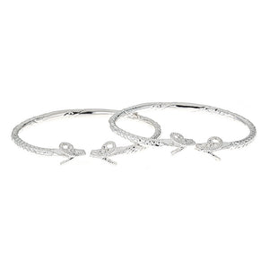 Solid .925 Sterling Silver Thick West Indian Bangles with Ram Ends (PAIR) - Betterjewelry