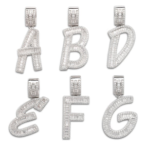 Letter Pendant in .925 Sterling Silver w. CZ Baguette Stones
