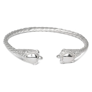 Coiled Rope West Indian Bangles w. Turtle Ends .925 Sterling Silver