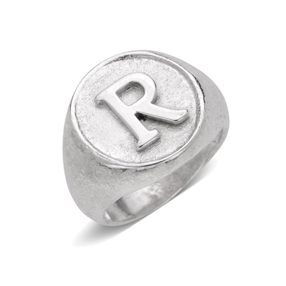 Classic Round Signet .925 Sterling Silver Initial Ring