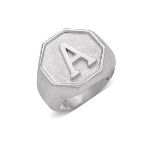 Octagon Signet .925 Sterling Silver Initial Ring