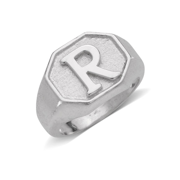 Octagonal Signet .925 Sterling Silver Initial Ring