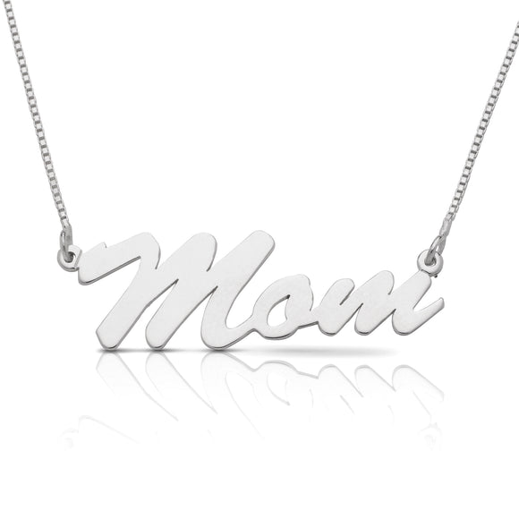 Personalized .925 Sterling Silver Glossy Script Name Necklace (MADE IN USA)