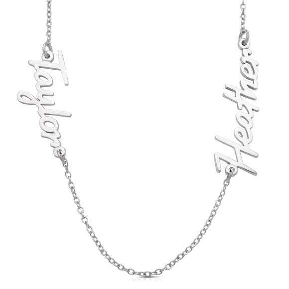 New! Personalized Classic Script .925 Sterling Silver Double Name Necklace