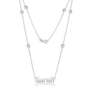 New! .925 Sterling Silver Nameplate with CZ Stone Chain