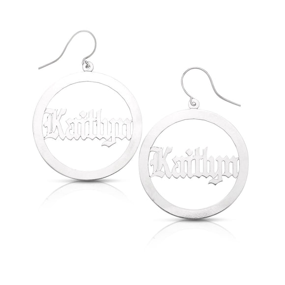 New! Personalized .925 Sterling Silver Gothic Nameplate Hoops (MADE IN USA)