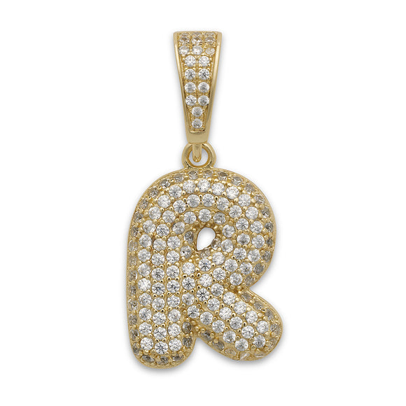 Small CZ .925 Sterling Silver 14K Gold Plated Bubble Letter