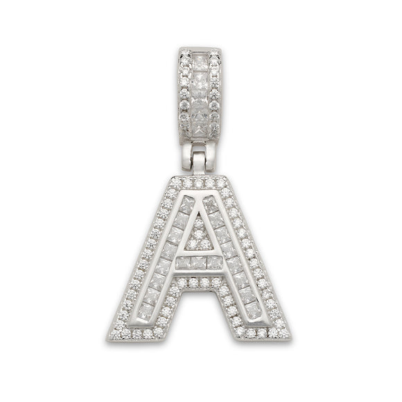 Small CZ Block Letter Pendant in .925 Sterling Silver
