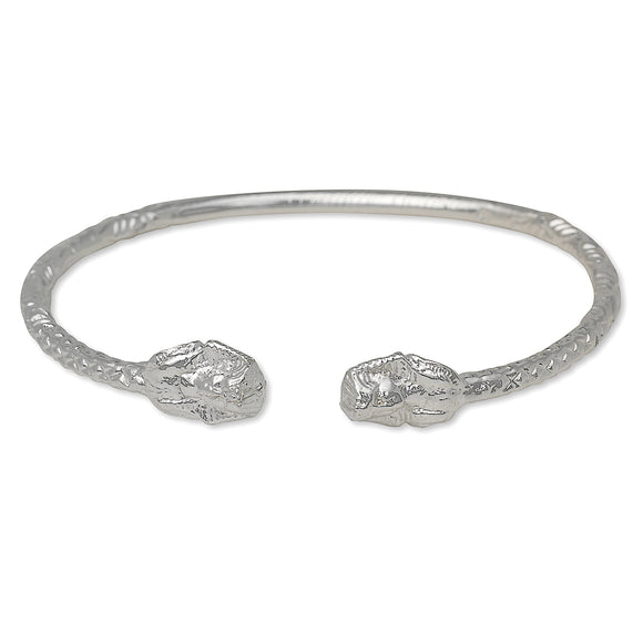 Pharaoh Ends West Indian Bangle .925 Sterling Silver