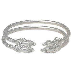 Praying Hands Ends West Indian Bangles .925 Sterling Silver (Pair)
