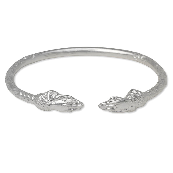 Praying Hands Ends West Indian Bangle .925 Sterling Silver