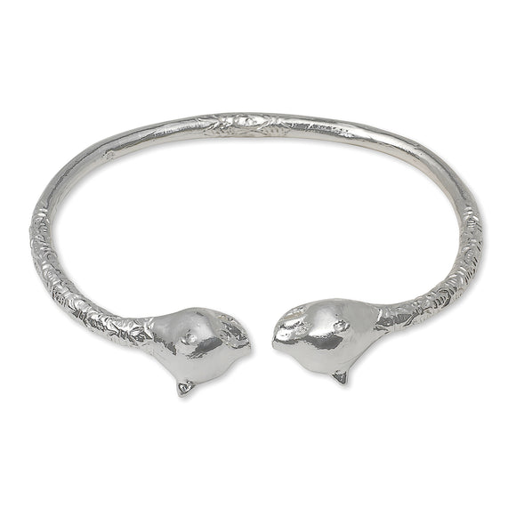 Large Panther Heads .925 Sterling Silver West Indian Bangle