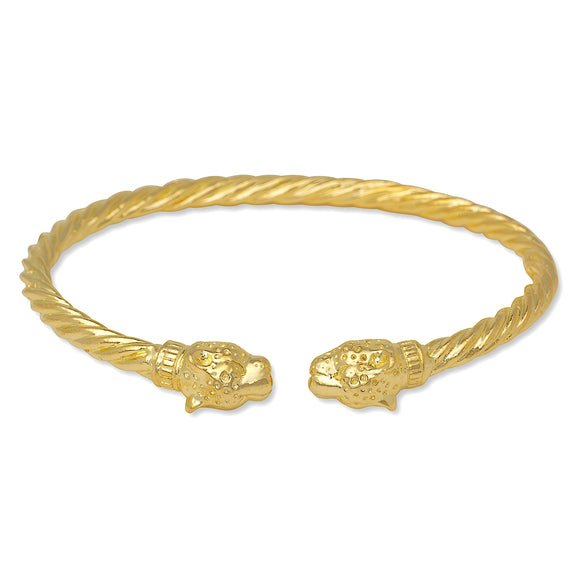 Jaguar Head Coiled Rope West Indian Bangle 14K Gold .925 Sterling Silver
