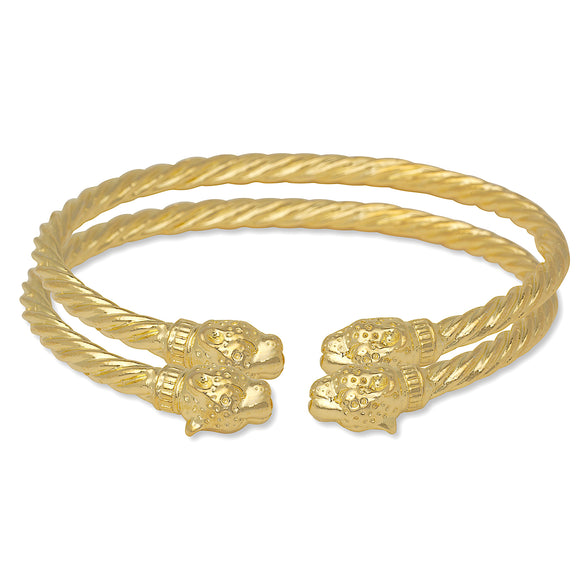 Jaguar Head Coiled Rope West Indian Bangles 14K Gold Plated .925 Sterling Silver