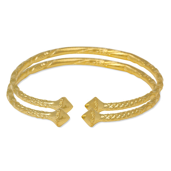 Smooth Pyramid Bangles 14K Gold Plated .925 Sterling Silver Bangles