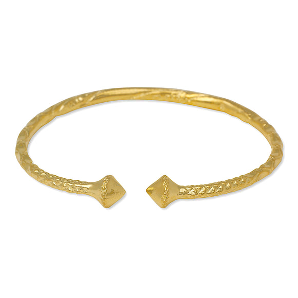 Smooth Pyramid 14K Gold Plated .925 Sterling Silver Bangle
