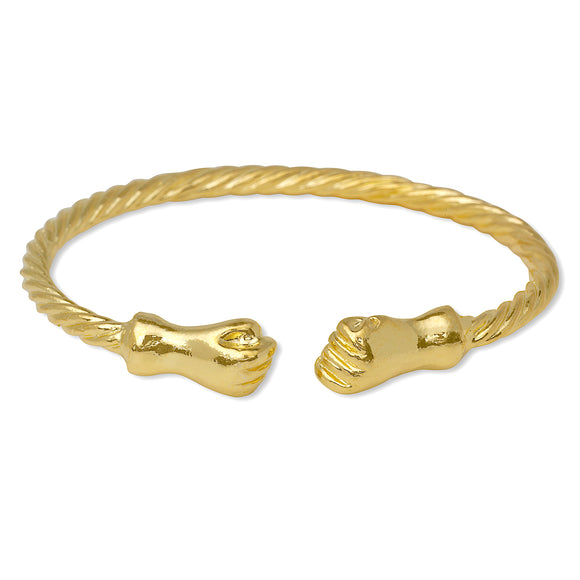 Fist Ends Coiled Rope 14K Gold Plated .925 Sterling Silver Bangle