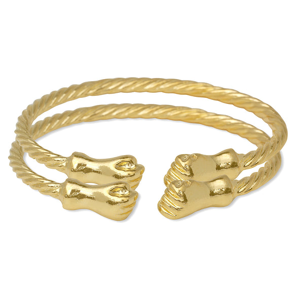 Fist Ends Coiled Rope 14K Gold Plated .925 Sterling Silver Bangles
