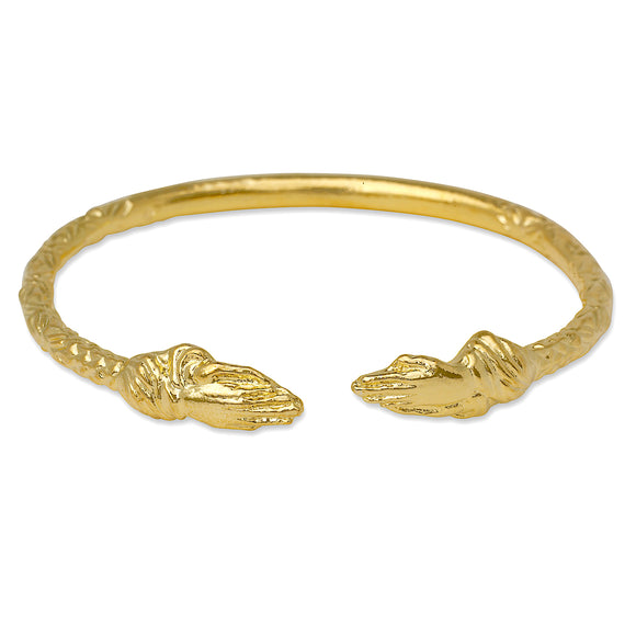 Praying Hands Ends West Indian Bangle 14K Gold Plated.925 Sterling Silver