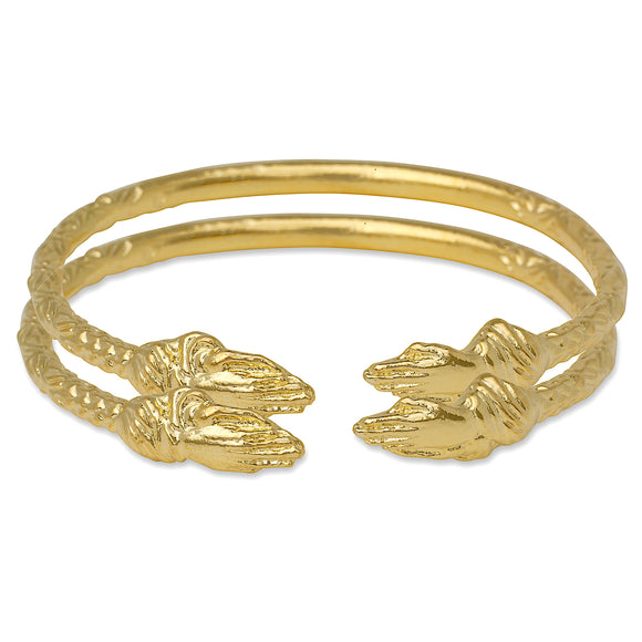 Praying Hands Ends West Indian Bangles 14K Gold Plated .925 Sterling Silver (Pair)