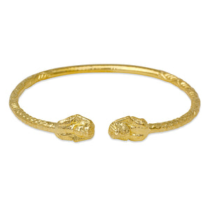 Pharaoh Ends West Indian Bangle 14K Gold Plated .925 Sterling Silver