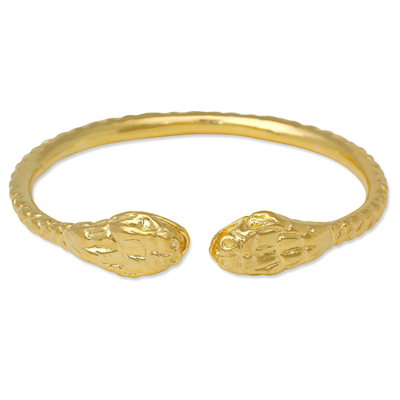 Thick Snake Ends West Indian Bangle 14K Gold Plated .925 Sterling Silver