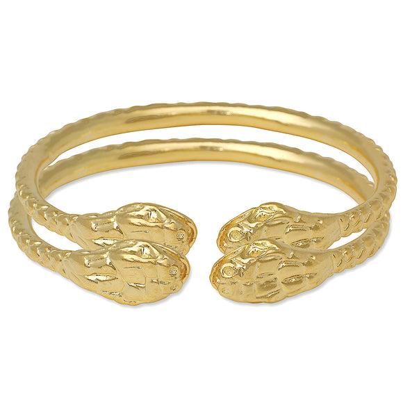 Thick Snake Ends 14K Gold Plated .925 Sterling Silver West Indian Bangles