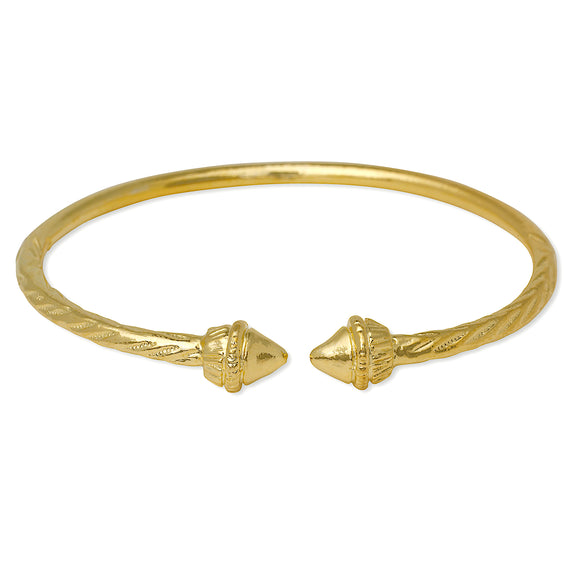Elegant Pointed Ends 14K Gold Plated .925 Sterling Silver West Indian Bangle