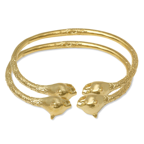 Large Panther Heads 14K Gold Plated .925 Sterling Silver West Indian Bangles (Pair)