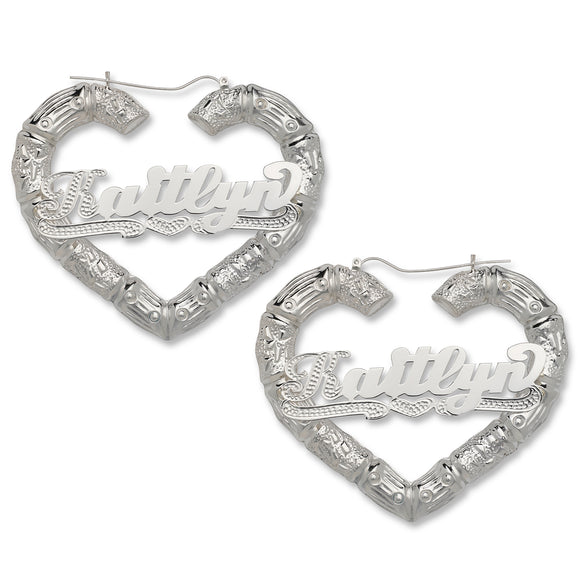 Heart Bamboo Hoops with Personalized Name