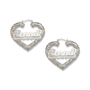 Small Heart Bamboo Hoops with Personalized Name