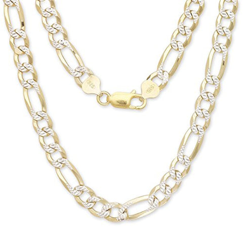 Figaro Chain Two-Toned 14K Gold over .925 Sterling Silver